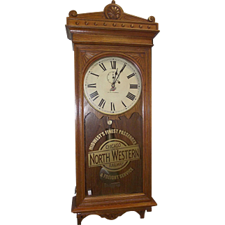 """Chicago & Northwestern Railroad"" Clock in a Rare Seth Thomas Model No. 30 Case in Golden Oak !!!"