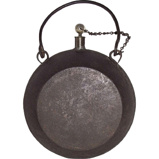"""Civil War  """"SIGNAL CORP FUEL CANTEEN"""" hand Wrought from Sheet iron with Wrought Iron Handle and Loops, with Brass Stopper & Chain !!!"""