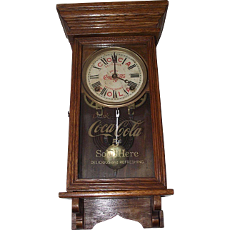 """Authentic """"Coca Cola Salesman Sample"""" small Advertising Clock with FREE SHIPPING inside USA !!! Circa 1920."""