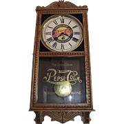 """Pepsi-Cola"" General Store Advertising Clock with a Golden Oak Case Circa 1920 !!!"