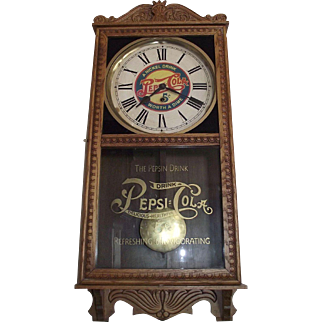 """Pepsi-Cola"" General Store Advertising Clock with a Golden Oak Case Circa 1920 !!!"