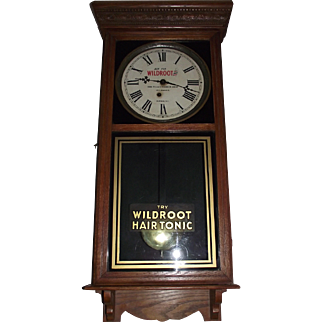 """""""Wild Root Hair Tonic""""  RARE Advertising Clock from """"The Palace Barber Shop * Durham,NC."""" circa 1932 to 1945 !!!"""