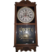 """Wright Co. Celebrated Coffee * Boston"" General Store Advertising Clock with a Golden Oak Case Circa 1920 !"