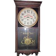 """Ward's Orange Crush"" Advertising Clock made by Welsh Clock Co. in a Dark Red Oak Case Circa 1925 !!!"