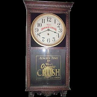 """Ward's Orange Crush"" Advertising Clock made by Welsh Clock Co. in a Dark Red Oak Case Circa 1925 !!!"