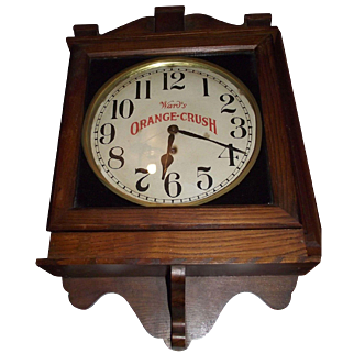 """""""Ward's Orange Crush"""" Advertising Gallery Clock made by the Clock Co. in an aged Oak Case Circa 1920's !"""