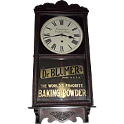 "Double Rare ""Dr. Blumer's Baking Powder"" Advertiser Clock Circa 1915 !!!"
