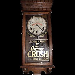 "Very Rare Salesman Sample Size Clock Advertising ""Ward's Orange Crush"" Soda on the Dial & Glass Tablet. (Circa 1916-1950)"