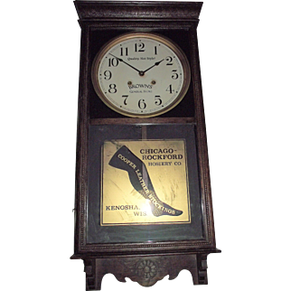 "Very Rare ""Cooper Leather Stockings * Chicago Rockford Hosiery"" from ""Brown's General Store"" on the Dial, in a Solid Oak Case circa 1925 !!!"
