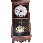 """Ward's Orange Crush"" Advertising Clock made by  Clock Co. in a Caramel Brown Oak Case Circa 1925 !!!"