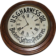 "Impressive Large 19 inch  Diameter ""U.S.G. Harness Oil"" Advertising Gallery in an Oak Case !!!      Marked Seth Thomas clock is circa 1910 to 1940."