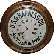 "Authentic 16 inch ""U.S.G. Harness Oil"" Advertising Gallery Clock with Time & Strike !!! Circa 1910 to 1940."