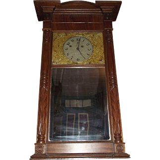 "Rare ""Asa Munger * Looking Glass Clock"", aka Mirror Clock Circa 1860's in Solid Mahogany Case !!!"