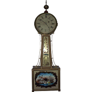 "Banjo Clock with ""War of 1812 Naval Scene""  Circa 1815 to 1845 !!!"
