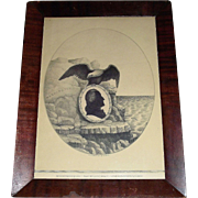 "Rare ""George Washington Silhouette with Eagle"" Monoprint marked  ""Lith. by E.B. & E. C. Kellogg, Hartford, CT. circa 1844  !!!"