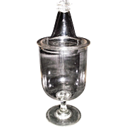 "Awesome Blown Glass Apothecary Show Jar with Original ""Witches Hat Lid topped & Grid Wafer Top Finial"", and a 3 part Chalice Shaped Base Circa 1860 !!!"