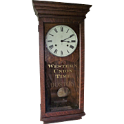 "RARE ""Western Union Time - BOSTON"" marked Seth Thomas 30 Day Regulator in a Quarter Sawn Oak Case Circa 1910 !!!"