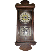"Small Size ""J. & P. Coats Spool Cotton"" Advertising Store Clock with Time & Strike Circa 1925 !!!"