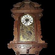"Walnut Gingerbread Wall Clock ""Crown Drop"" model made by the ""E. Ingraham Clock Co."" Circa 1890 !"