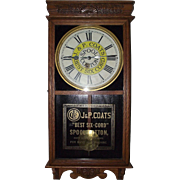 "Full Size Store Advertiser  ""J. & P. Coats Spool Cotton"" Clock Circa 1920's !!!"