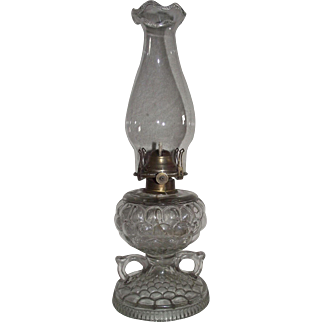 "RARE ""Fish Scale"" Pattern Double Finger Oil Lamp Circa 1890's complete with Burner & Chimney   !!!"