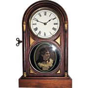 "Seth Thomas ""Chicago City Series"" Rosewood Shelf Clock with ""Cat-Eye Female Portrait"" on Lower Glass Tablet, Factory Dated 1884 !!!"