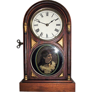 "Seth Thomas Deluxe ""Chicago City Series"" Rosewood Shelf Clock with ""Cat-Eye Female Portrait"" on Lower Glass Tablet, Factory Dated 1884 !!!"