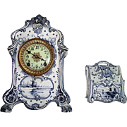 "Ladies Royal Bonn Desk Set marked  ""DELFT""  Blue & White China Clock with Original Matching Letter Holder, circa 1880 to 1910 !!!"