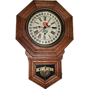 "Rare  ""Lone Star Beer"" Octagon Short Drop, Solid Oak Clock advertising ""The National Beer of Texas * Since 1845""  !!!"