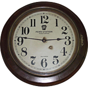 """Pennsylvania Railroad"" Oak Gallery Clock made by Seth Thomas Clock Co. circa 1920 !"