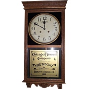 """Chicago Biscuit"" Store Advertiser with ""Time & Strike"" made by Welsh Clock Co. in a Golden Oak Case Circa 1925 !!!"
