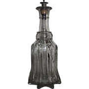 """Blown """"Pillar Molded Decanter"""" aka """"River Boat Glass"""" from Pittsburgh area with original Pewter Spout Circa 1860's !!!"""