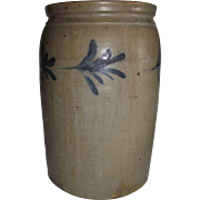 "Stoneware Crock with Cobalt Blue Leaf Decorations and Stamped ""3"" for Gallon size designation  !!!"