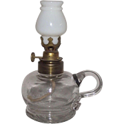 Miniature Finger Lamp dated 1877 with String Burner & White Glass Shade !!!