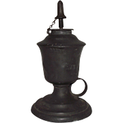 Pewter Finger Lamp with Original Adjustable Burner Tubes Circa 1850 !!!