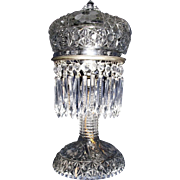 "Ladies ""Press-Cut Crystal Glass"" Budoir Light with Nickel Plated Metal Hardware & Hanging Prisms  !"