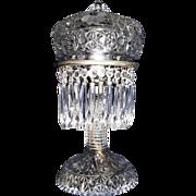 "Ladies ""Press-Cut Crystal Glass"" Budoir Light with Nickel Plated Metal Hardware & Hanging Prisms  !"