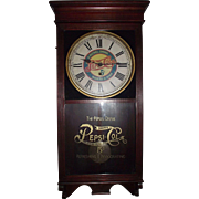 """Pepsi- Cola"" Advertising Store Regulator Clock with Fabulous Mahogany Stained Case circa 1925 !!!"