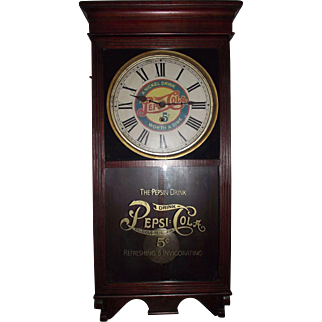 """""""Pepsi- Cola"""" Advertising Store Regulator Clock with Fabulous Mahogany Stained Case circa 1925 !!!"""
