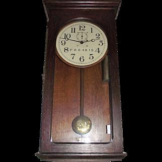 "Marked ""Pennsylvania Railroad"" Weight Driven ""Waltham Model No. 35"" Regulator Clock in Original Solid Oak Case Circa 1910 !!!"