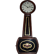 Rosewood Cased Attleboro  8 Day Banjo Clock with Original Glass Tablets Circa 1845 !!!