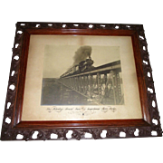 "Original Large Photograph of ""President McKinley's Funeral Train Crossing the Susquehanna River Bridge"" in Harrisburg,Penna. dated Sept. 11,1901"