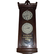 "Historic ""Baltimore & Ohio Railroad * Fairport Harbor,Ohio."" Double Dial 30 Day Calendar Clock in a Rare New Haven ""Barbara"" model Solid Oak Case Circa 1894 !!!"