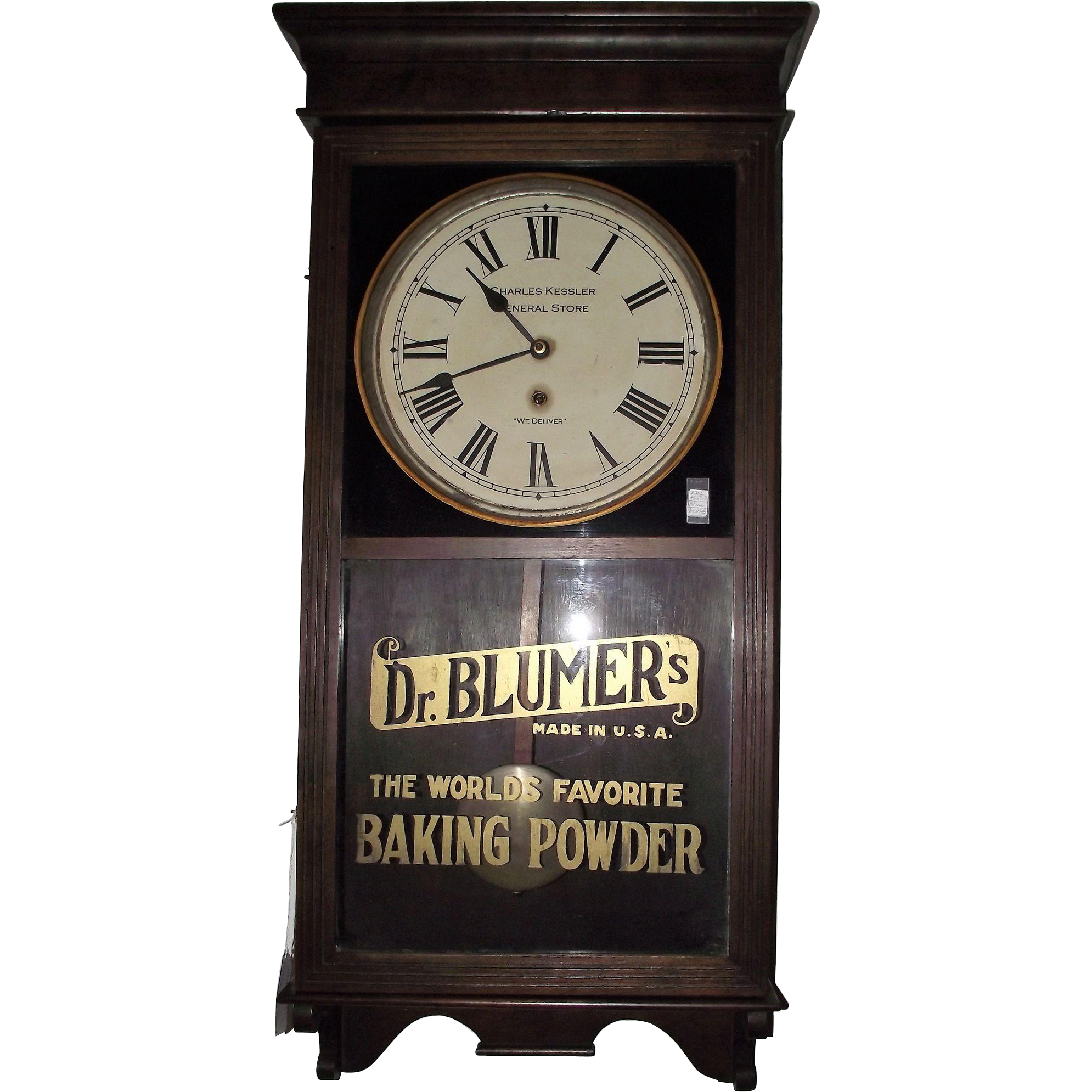 "Store Regulator ""Dr. Blumer's Baking Powder "" Advertiser Clock Circa 1920's !!!"