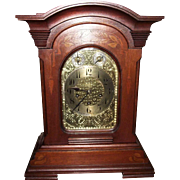 "Solid Mahogany ""Junghans"" German stamped Westminster Chimes Mantle Clock with an Art Nouveau Leaf Inlaid Case Circa 1905 !!!"