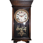 "Rare ""Coca Cola"" Salesman Sample Size Advertiser Clock marked with the early 5 Cents on the Dial & Glass Tablet !!! Circa 1915-1930's."