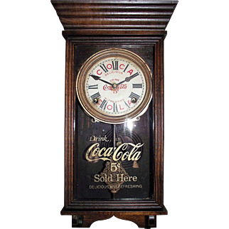 """Rare """"Coca Cola"""" Salesman Sample Size Advertiser Clock marked with the early 5 Cents on the Dial & Glass Tablet !!! Circa 1915-1930's."""