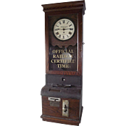 "Large ""Baltimore & Ohio Railroad Company"" Employee Time-Stamp Clock from the Freight Sales Office in the ""Metropolitan Building * Akron,Ohio"" !!!"