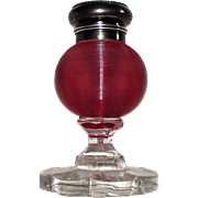 "Art Glass ""Cranberry Threaded Glass inkstand"" with Silver Plated Cap in Very Fine Condition circa 1890 to 1910  !!!"