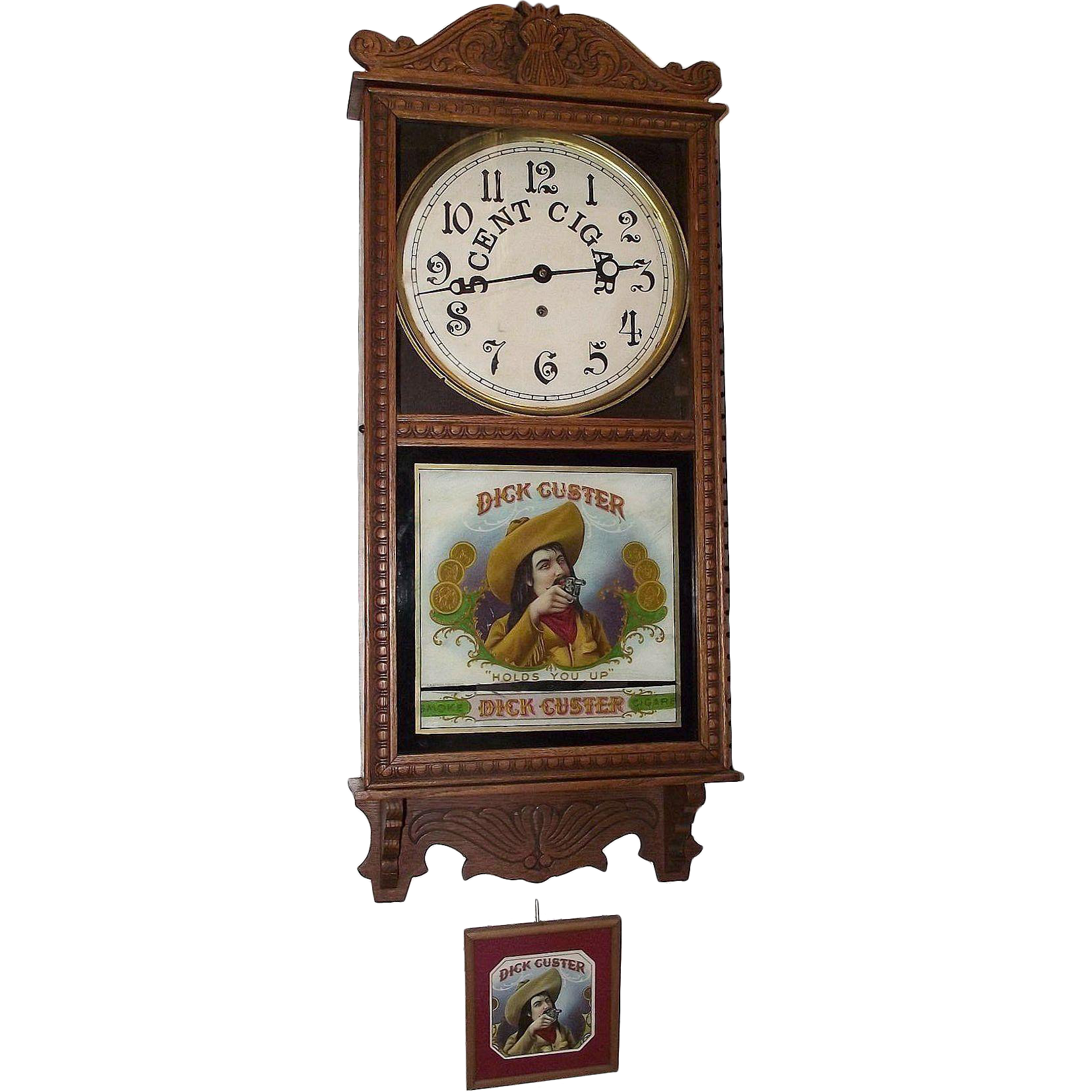 Dick custer cigar store advertising clock made by circa 1910s to dick custer cigar store advertising clock made by circa 1910s to 1920s amipublicfo Choice Image